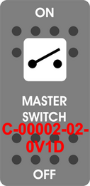 """MASTER SWITCH""  Grey Switch Cap single White Lens  ON-OFF"