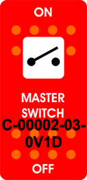 """MASTER SWITCH""  Red Switch Cap single White Lens  ON-OFF"