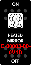 """HEATED MIRROR""  Black Switch Cap single White Lens  ON-OFF"