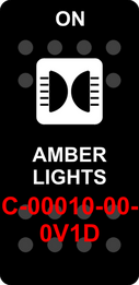 """AMBER LIGHTS""  Black Switch Cap single White Lens  ON-OFF"