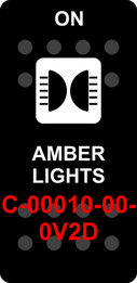 """AMBER LIGHTS""  Black Switch Cap single White Lens  (ON)-OFF"