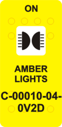 """AMBER LIGHTS""  Yellow Switch Cap single White Lens  (ON)-OFF"