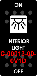 """INTERIOR LIGHT""  Black Switch Cap single White Lens  ON-OFF"