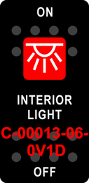 """INTERIOR LIGHT""  Black Switch Cap single Red Lens  ON-OFF"