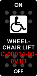 """WHEELCHAIR LIFT""   Black Switch Cap single White Lens  ON-OFF"
