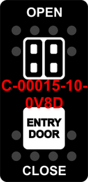 """ENTRY DOOR/OPEN-CLOSE"" Black Switch Cap dual White Lens  (ON)-OFF-(ON)"