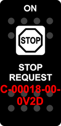 """STOP REQUEST""  Black Switch Cap single White Lens  (ON)-OFF"