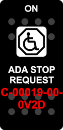 """ADA STOP REQUEST""  Black Switch Cap single White Lens  (ON)-OFF"