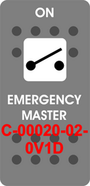 """EMERGENCY MASTER""  Grey Switch Cap single White Lens  ON-OFF"