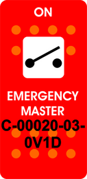 """EMERGENCY MASTER""  Red Switch Cap single White Lens ON-OFF"
