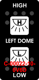"""LEFT DOME/HIGH-LOW"" Black Switch Cap dual White Lens  ON-OFF-ON"