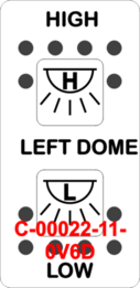 """LEFT DOME/HIGH-LOW"" White Switch Cap dual White Lens  ON-OFF-ON"