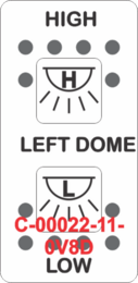 """LEFT DOME/HIGH-LOW"" White Switch Cap dual White Lens  (ON)-OFF-(ON)"