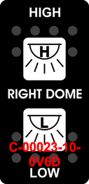 """RIGHT DOME/HIGH-LOW""  Black Switch Cap dual White Lens  ON-OFF-ON"