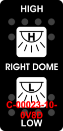 """RIGHT DOME/HIGH-LOW""  Black Switch Cap dual White Lens  (ON)-OFF-(ON)"