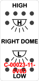 """RIGHT DOME/HIGH-LOW""  White Switch Cap dual White Lens  ON-OFF-ON"