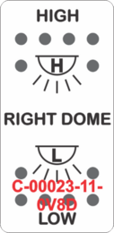 """RIGHT DOME/HIGH-LOW""  White Switch Cap dual White Lens  (ON)-OFF-(ON)"