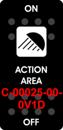 """ACTION AREA""  Black Switch Cap single White Lens  ON-OFF"