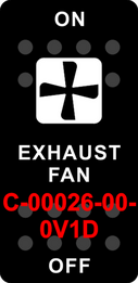 """EXHAUST FAN""   Black Switch Cap single White Lens  ON-OFF"