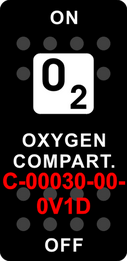"""OXYGEN COMPT""   Black Switch Cap single White Lens  ON-OFF"