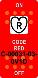 """CODE RED"" Red Switch Cap single White Lens ON-OFF"