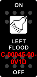 """LEFT FLOOD""  Black Switch Cap single White Lens ON-OFF"