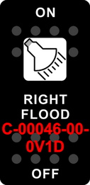 """RIGHT FLOOD"" Black Switch Cap single White Lens ON-OFF"