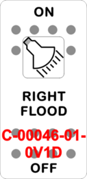 """RIGHT FLOOD"" White Switch Cap single White Lens ON-OFF"