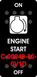 """ENGINE START"" Black Switch Cap single White Lens ON-OFF"