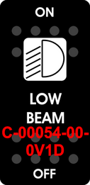 """LOW BEAM""  Black Switch Cap single White Lens ON-OFF"