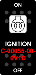 """IGNITION""  Black Switch Cap single White Lens ON-OFF"