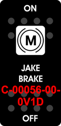 """JAKE BRAKE""  Black Switch Cap single White Lens ON-OFF"