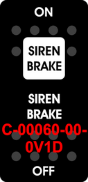 """SIREN BRAKE""  Black Switch Cap single White Lens ON-OFF"