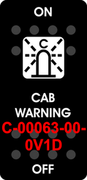 """CAB WARNING""  Black Switch Cap single White Lens ON-OFF"