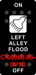 """LEFT ALLEY FLOOD"" Black Switch Cap single White Lens ON-OFF"
