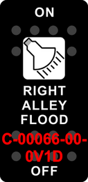 """RIGHT ALLEY FLOOD""  Black Switch Cap single White Lens ON-OFF"