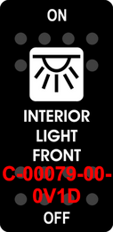 """INTERIOR LIGHT FRONT""  Black Switch Cap single White Lens  ON-OFF"