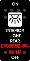 """INTERIOR LIGHT REAR""   Black Switch Cap single White Lens  ON-OFF"