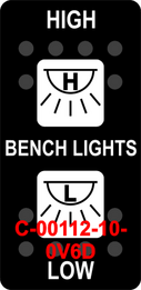 """HIGH BENCH-LIGHTS LOW""  Black Switch Cap dual White Lens ON-OFF-ON"
