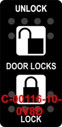 """DOOR LOCKS UNLOCK LOCK""  Black Switch Cap dual White Lens (ON)-OFF-(ON)"