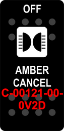 """AMBER CANCEL OFF"" Black Switch Cap sinlge White Lens   (ON)-OFF"