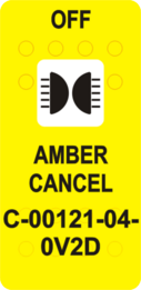 """AMBER CANCEL OFF"" Yellow Switch Cap sinlge White Lens   (ON)-OFF"