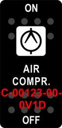 """AIR COMPR""  Black Switch Cap sinlge White Lens  ON-OFF"