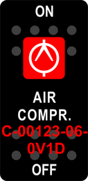 """AIR COMPR""  Black Switch Cap single Red Lens  ON-OFF"