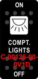 """COMPT. LIGHTS""  Black Switch Cap single White Lens  ON-OFF"