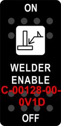 """WELDER ENABLE""  Black Switch Cap single White Lens  ON-OFF"