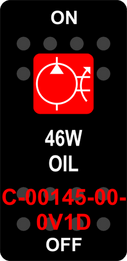 """46W OIL""  Black Switch Cap single Red Lens  ON-OFF"
