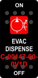 """EVAC DISPENSE""  Black Switch Cap single Red Lens  ON-OFF"