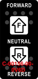 """""""FORWARD NETURAL REVERSE""""  Black Switch Cap single White Lens ON-OFF-ON"""