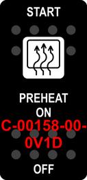 """START PREHEAT""  Black Switch Cap single White Lens  ON-OFF"